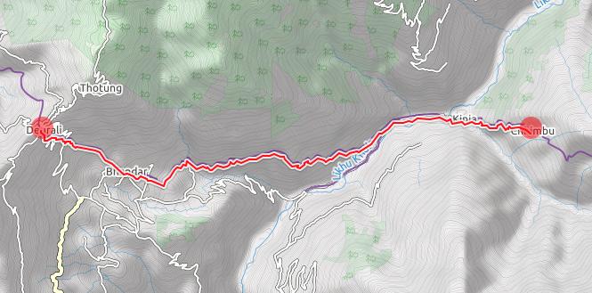 gps map Deurali Pass to Chimbu